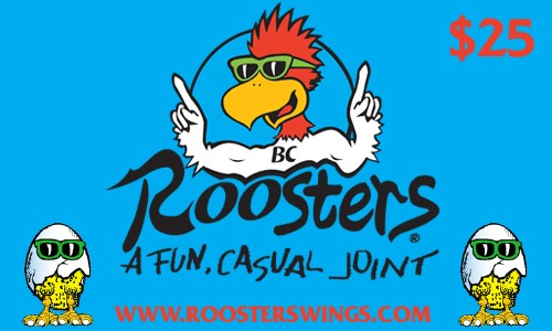 roosters gift card 25 dollars